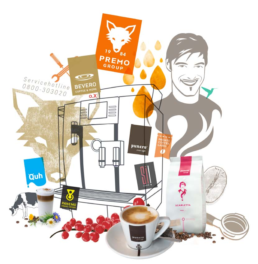 Illustration Collage Kaffee PREMO GROUP