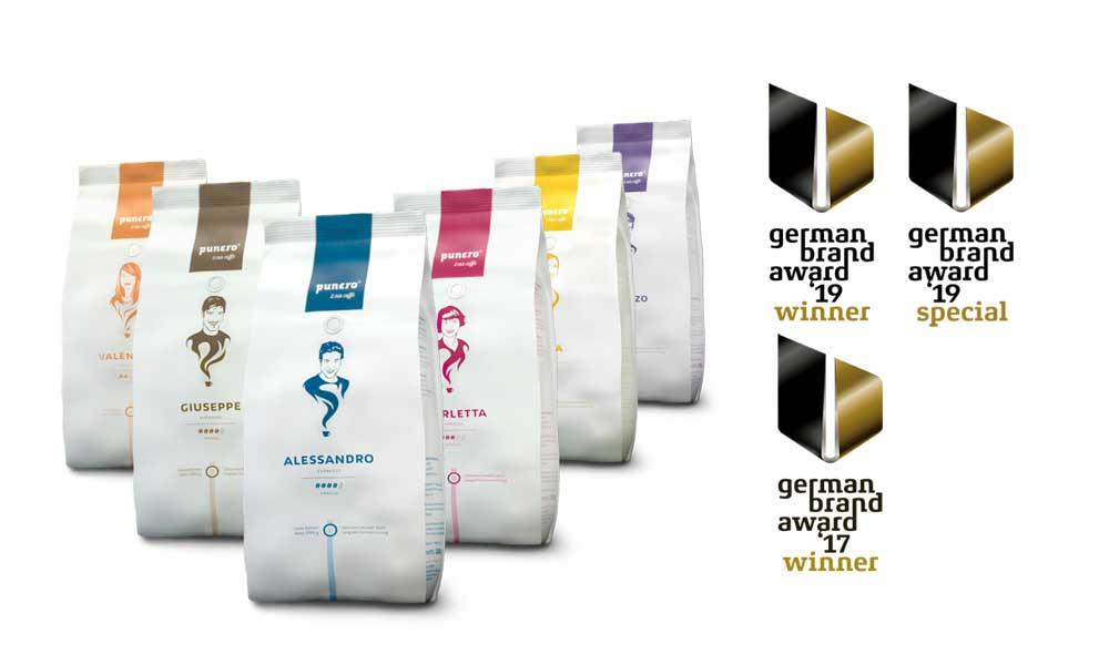 Collage German Brand Award 2019 für punero Caffè